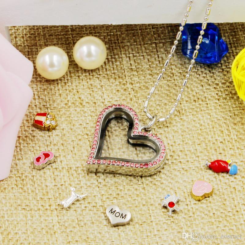 Sıcak satış yenilik aşk kalp manyetik kristal DIY yüzen bellek yaşayan madalyon kolye hediye kızlar kadınlar için kız ücretsiz zincirleri ile