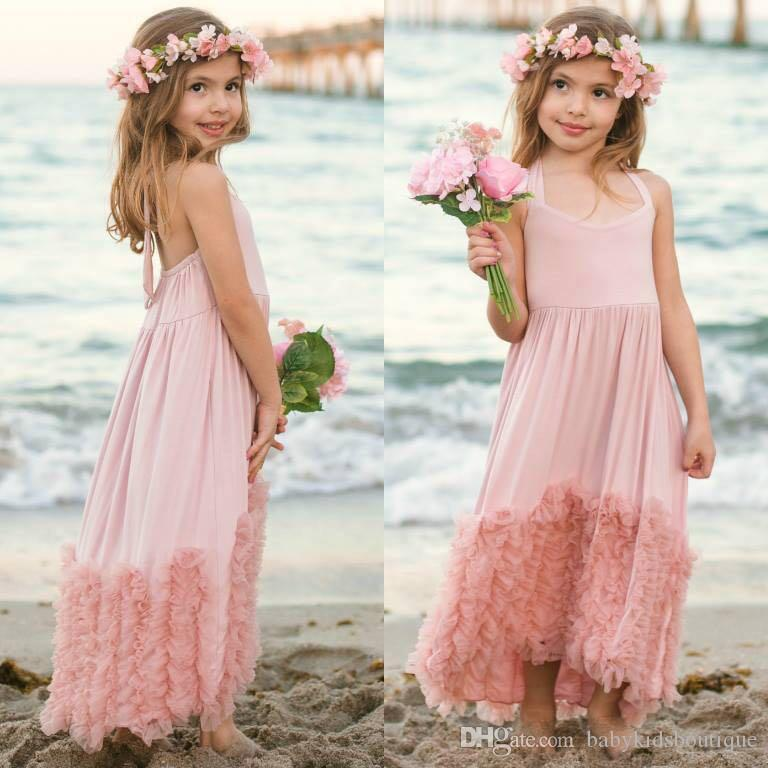 2017 2017 New Girls Maxi Dress Kids Dust Pink Cotton Ruffles Tulle ...