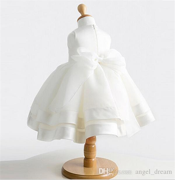 2017 Ball Gown Flower Girl Dresses with Bow for Wedding New Princess Party Birthday Communion Pageant Dress Little Girls Kids/Children Dress