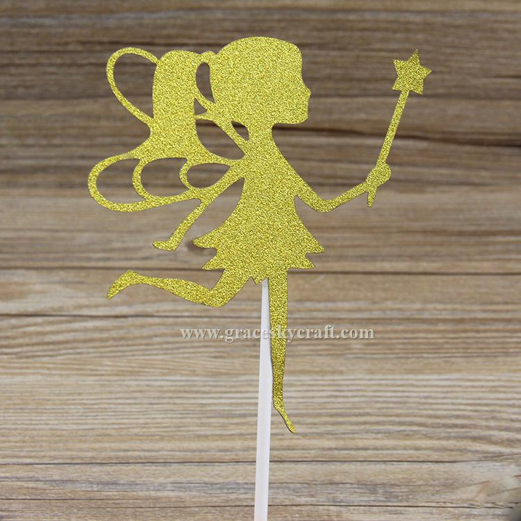 Glitter paper little fairy girl birthday Cakes Toppers Kids Birthday baby shower Party Favors cupcake picks