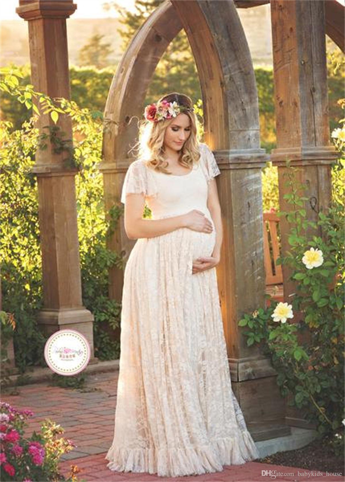 Großhandel Mutterschaft Kleid Für Foto Schießen Rundhalsausschnitt Weißes  Kleid Mutterschaft Fotografie Requisiten Kurzarm Lace Schwanger