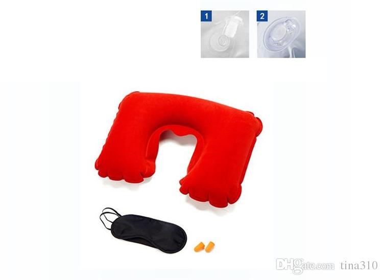 Aufblasbares U-Form-Kissen für Flugreisen Aufblasbares Nackenkissen Reiseartikel Kissen für Schlafluftkissen Kissen IC517
