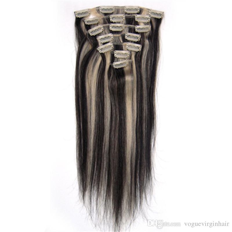 مختلط 2 ألوان لهجة 100 ٪ شعرة الإنسان مختلطة 1B 613 كليب في الشعر الإنسان ملحقات مجموعة 7 قطع