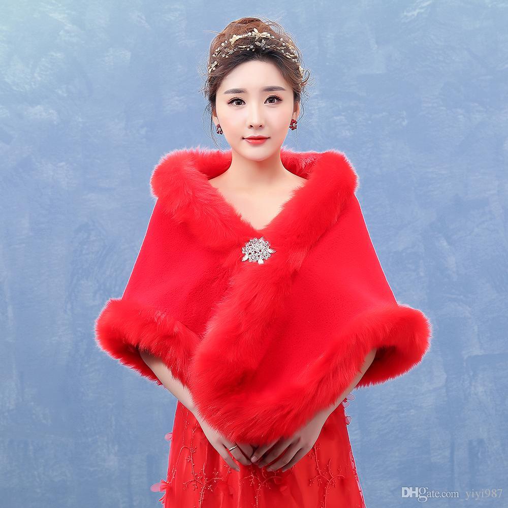 Y-027 겨울 결혼식 2018을위한 신부 진짜 그림 뜨거운 빨간 가려움을위한 도매 Pur Shawl 새로운 디자인