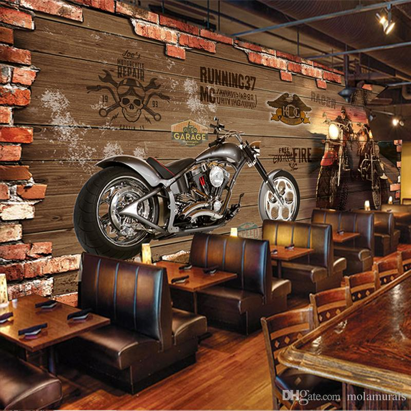 Custom photo wallpaper vintage motorcycle nostalgic brick for Decoration maison aliexpress