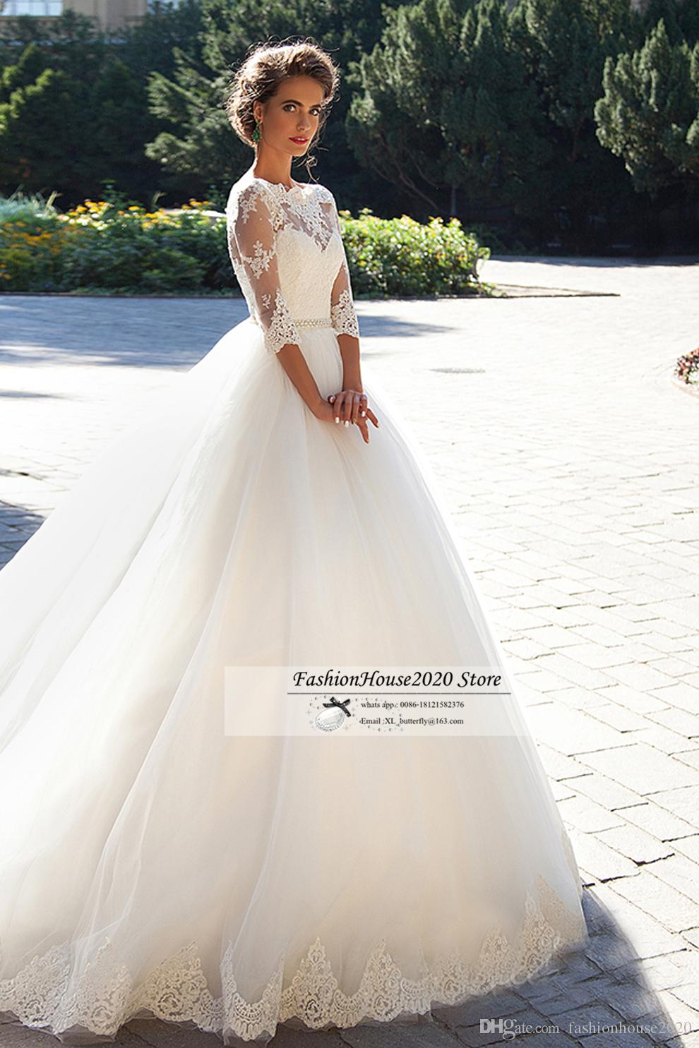 2020 Cheap Vintage Lace Long Sleeve Wedding Dresses New Applique Beaded Sexy Lace Back Long Train Wedding Bridal Gowns Cheap Bride Dresses
