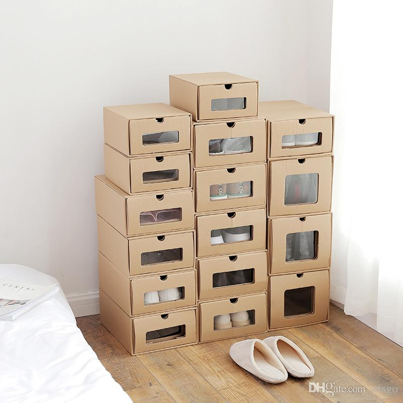 2018 Drawer Type Kraft Paper Shoes Storage Box Transparent Shoe Boxes Simple Storage Case Boots Storage Box Finishing Sundries Finishing From Otsgo ... & 2018 Drawer Type Kraft Paper Shoes Storage Box Transparent Shoe ...