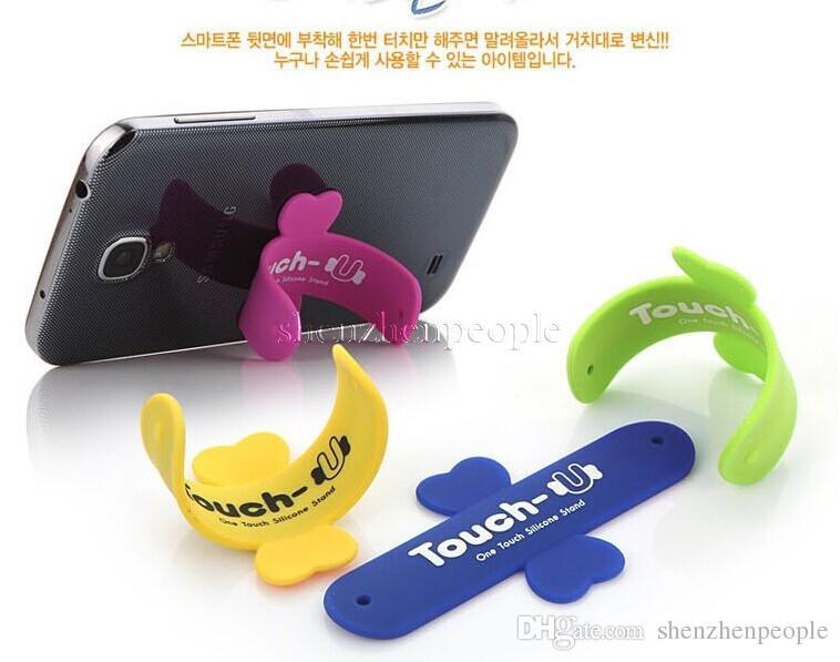 Avec sac de vente au détail Portable Universel Touch U One Touch Titulaire Silicone Support de Téléphone portable Pour téléphone mobile 6s plus smartphone S7