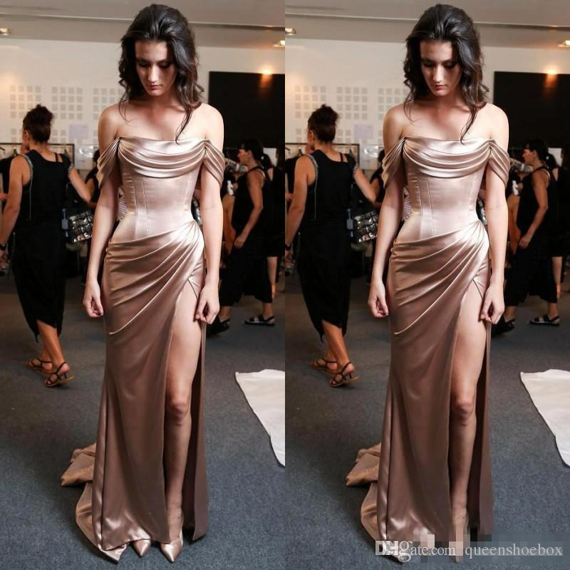 Unique Rose Gold Cap Sleeve Mermaid Long Prom Dresses 2017 Boat Neck Off the Shoulder Backless Side Slit Ruched Pleat Satin