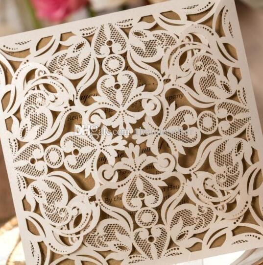 Chegada nova Laser Cut Cartões de Convite de Casamento Oco Laço Flora Flor Festa Convidar Amigos Cartões com Envelopes e Selo