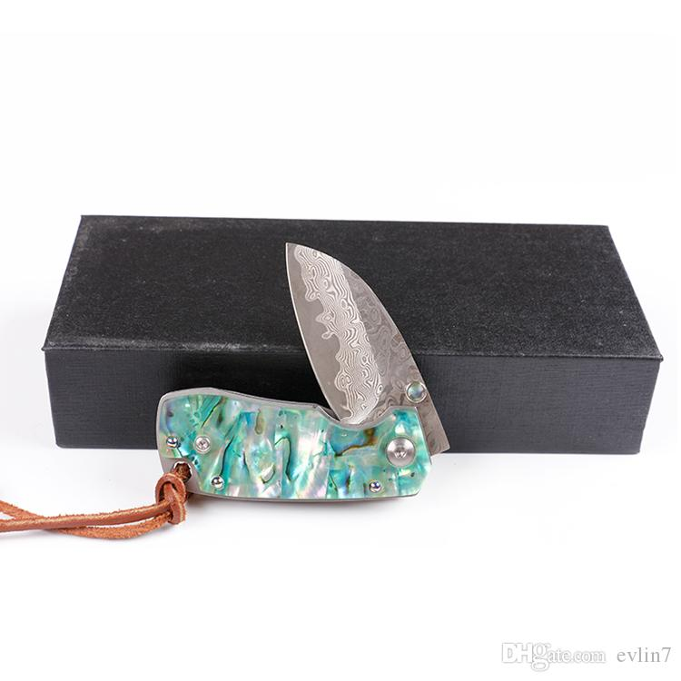 2017 New Damascus Folding Knife Abalone shell + Steel Sheet Handle EDC Pocket Knives Small Gift Keychain Knife Liner Lock