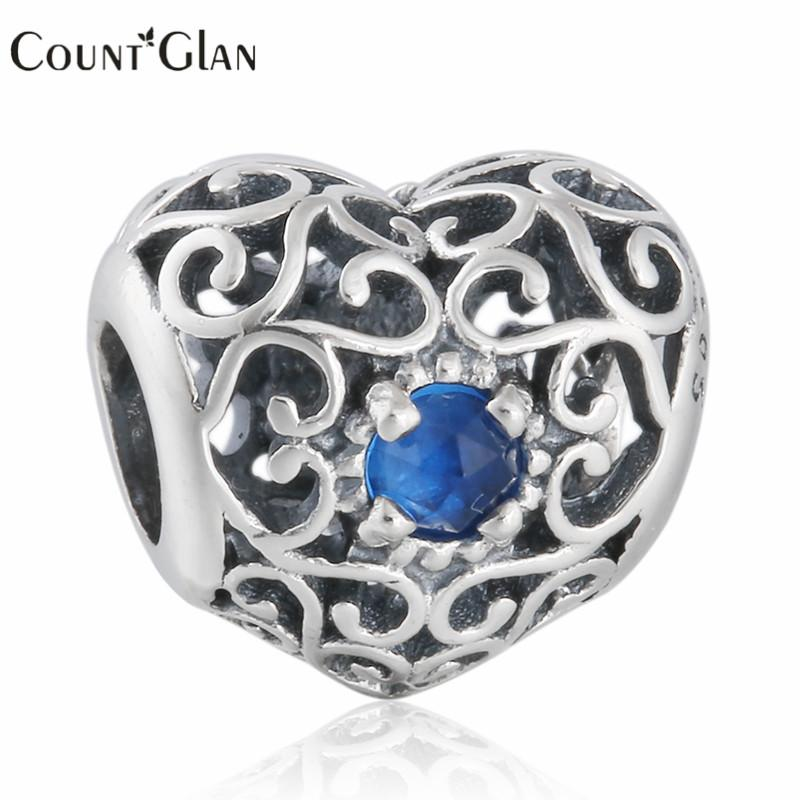 Birthstone December Signature Charm Beads 925 Sterling Silver Openwork Blue Crystal Heart Charms Diy Brand Bracelets Jewelry