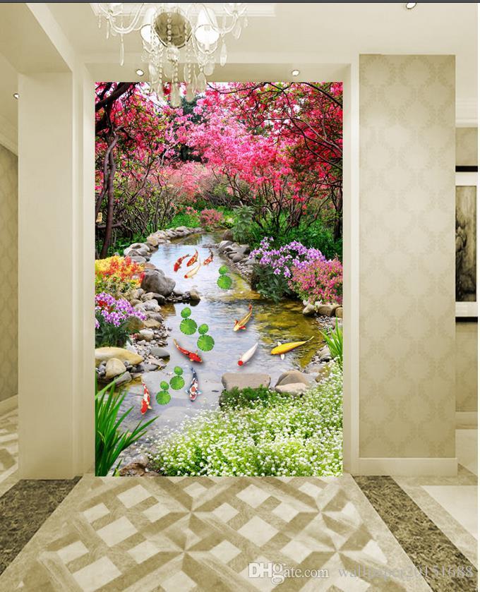 Árbol europeo moderno de lujo nueve peces mapa hierba cielo azul flores de papel tapiz para paredes 3 d para la sala de estar