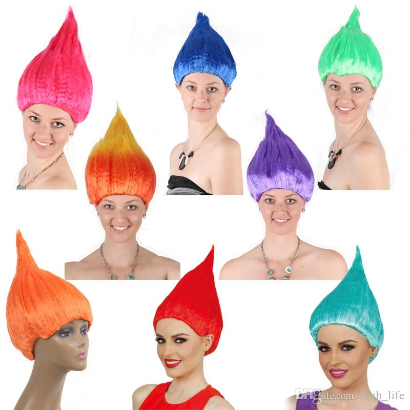 Hot Trolls Wig For Kids 36cm Flame Wig Children Cosplay Party Supplies Halloween Wig Birthday Party Wigs KCA1122