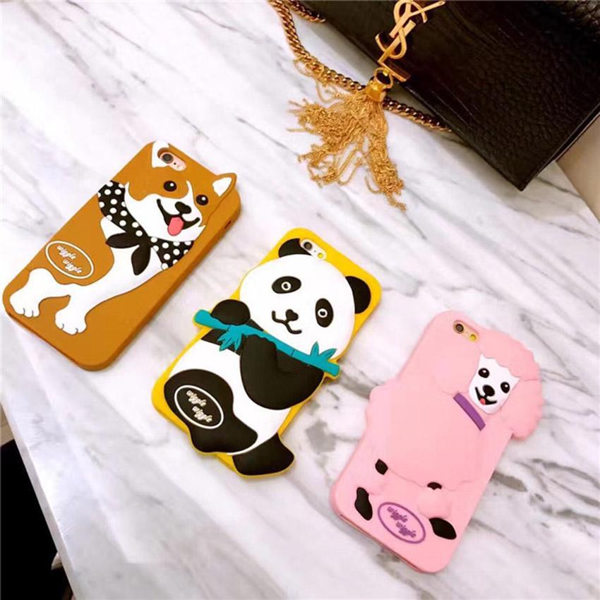 Fashion Cute 3D Cartoon Korea Wiggle Poodle Panda Corgi Dog Phone Cover for iPhone 6 6sPlus 7 7 plus Soft silicon case Protector