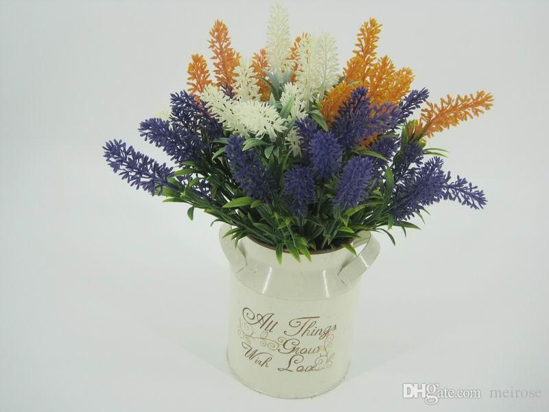 Artificial Flowers Lavender Bouquet with 4 Colour Flowers Arrangements Bridal Home DIY Table Flowers Garden Office Wedding Decor 125 -1080
