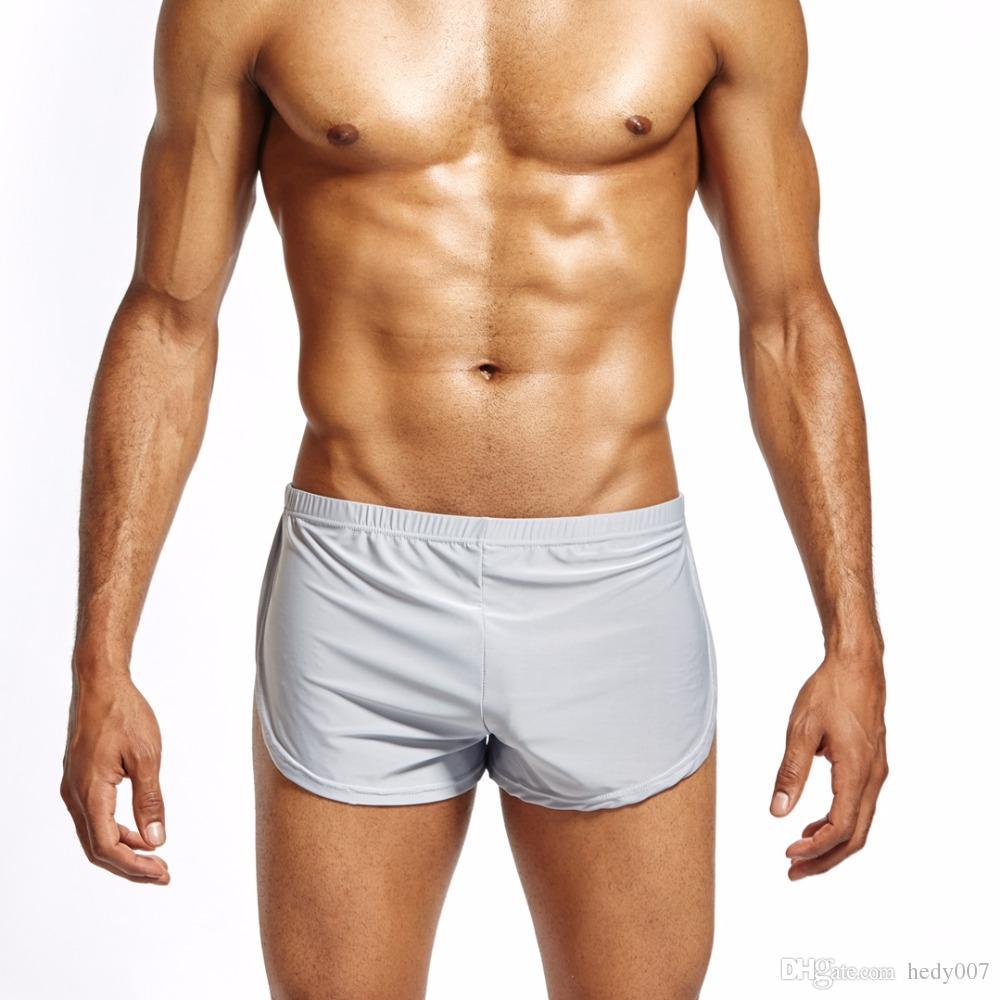 Nylon Seda de hielo Lounge Spandex Troncos Troncos de los hombres Sexy Sissy Bragas Hombres Boxers Shorts Inicio ropa de dormir Ropa interior Gay