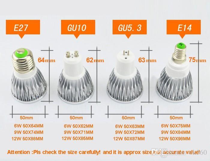 New COB 6W 9W 12W Led Spotlights Lamp 120 Angle GU10 E27 E26 GU5.3 MR1612V Dimmable Bulbs lampWarm/Cool White DC12V AC110V 220V CE ROHS UL