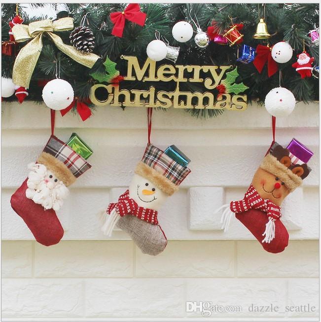 christmas stocking bag ornaments socks sacks candy bags cartoon stockings christmas tree decor santa claus snowman