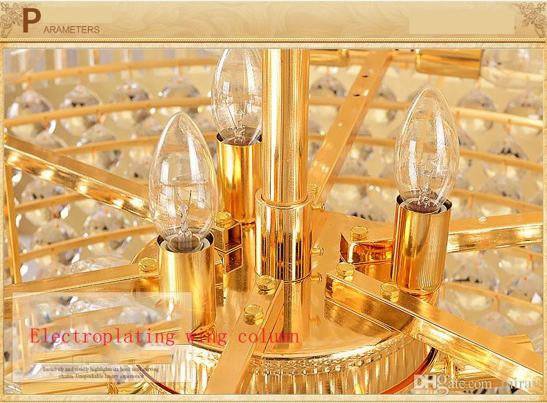 Double floor chandelier hotel lobby crystal lamp villa living room Golden Crystal Chandelier chandelier interior decoration lamp