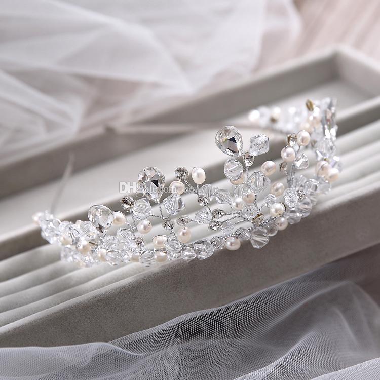 Bijoux de mariage mariée Diadèmes de perles artificielles Cheveux de la couronne de mariée Boucles d'oreilles Collier Accessoires de mariée T1605