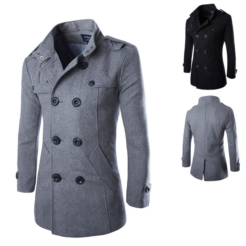 2017 Wholesale New 2016 Men Casual Slim Fit Overcoat Jacket Wool ...