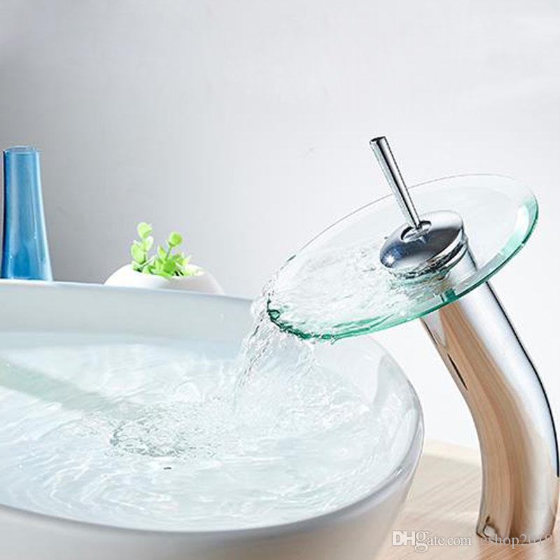 2017 جديد بالوعة الحمام الحنفيات الحمام جولة الزجاج صنبور شلال حوض خلاط الباردة والساخنة بالوعة الحنفية شحن مجاني