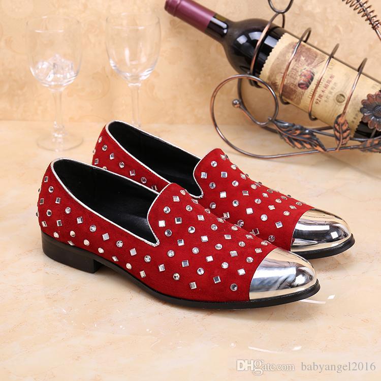 Новая Мода Горный Хрусталь Декор Мокасины Красный Мужская Свадьба Обувь Скольжения На Повседневная Обувь Мужчины Металлические Пальцы Квартиры Лианы Эспадрильи