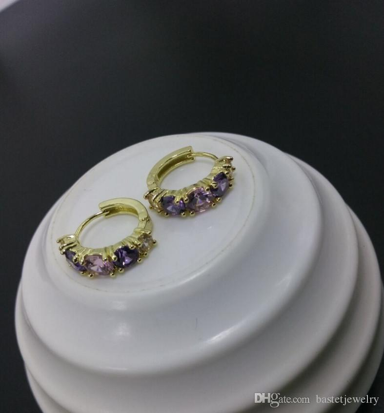 2017 Unique Colorful Round Zircon Shaped Piercing Small Huggie Hoop Earring for Women Gold-color Earings Round CZ Jewelry