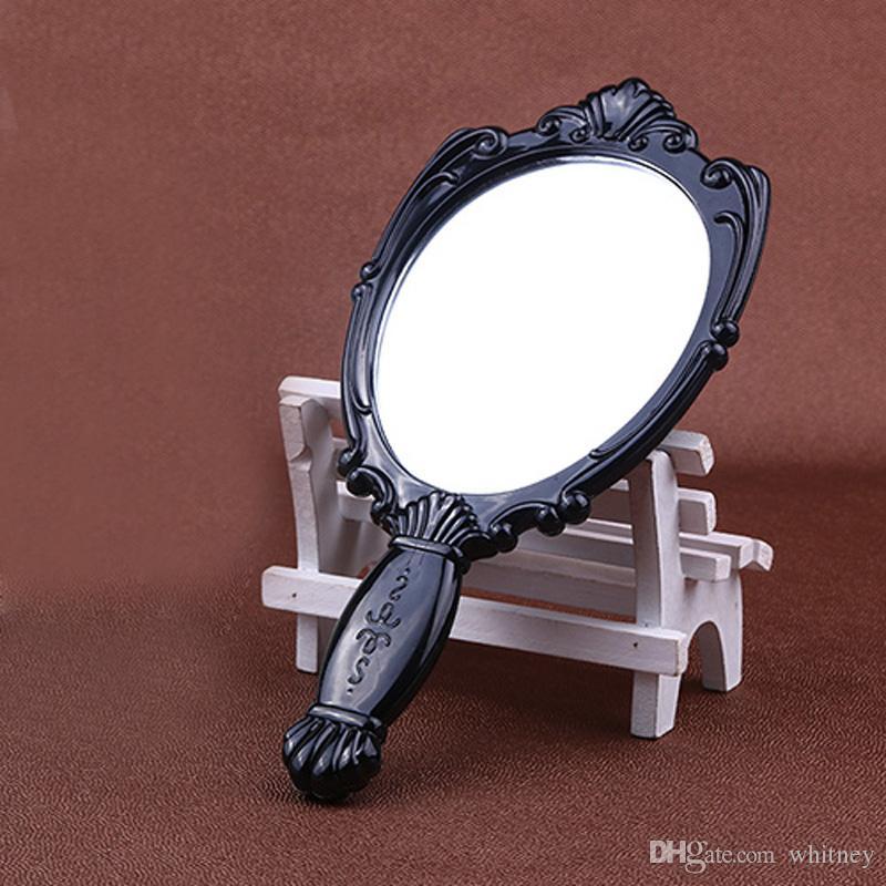20x / los Vintage Rose Kosmetikspiegel Kunststoff Make-up Spiegel Nette Mädchen Hand Make-up Spiegel Lila, Rot, Schwarz, Weiß, Rosa # MD18