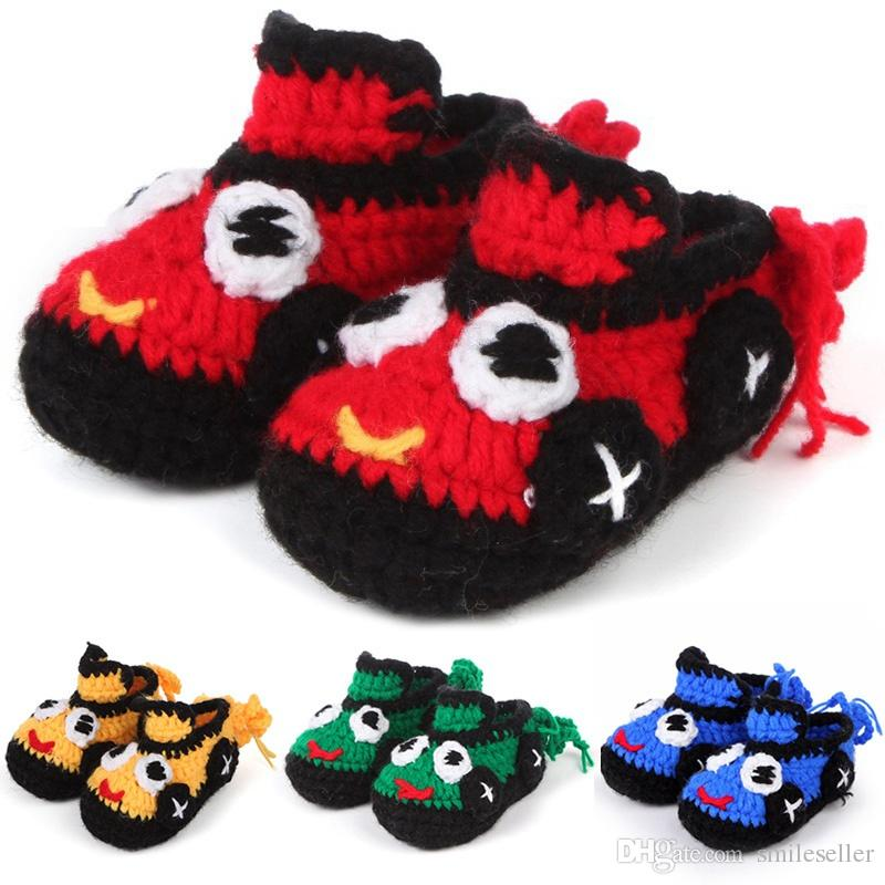 Trendy Baby Knitted Shoes Cartoon Car Pattern Newborn Crib Shoes