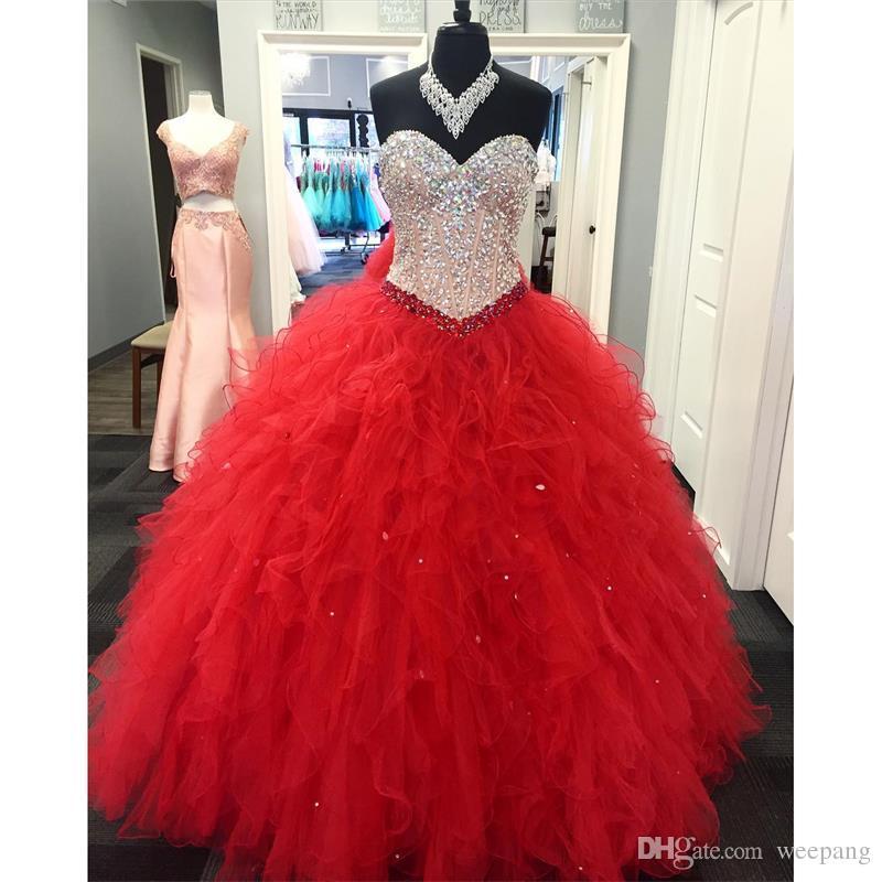 eeeb3c97c Compre Por Encargo 2017 Vestido De Bola Rojo Quinceanera Vestidos Cariño  Lentejuelas Cristales Volantes Tulle Vestido De Fiesta Para Sweet 15 A   146.34 Del ...