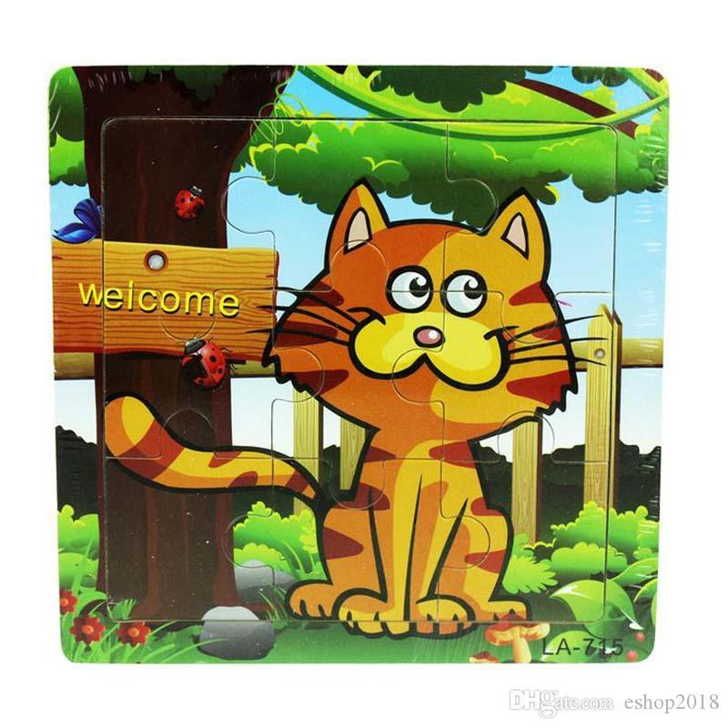 Niños de jardín de infantes 9 piezas de madera rompecabezas juguetes rompecabezas animal de dibujos animados variedad de pequeños regalos opcionales regalos al por mayor