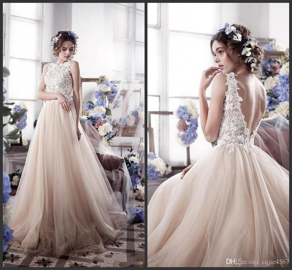 2018 New Designboat Neck Boho Beach Wedding Dresses Backless Appliques Lace Bodice Tulle Skirt Sheer Plus Size Bridal Gowns 500 Cheap: Corset Color Wedding Dresses At Websimilar.org
