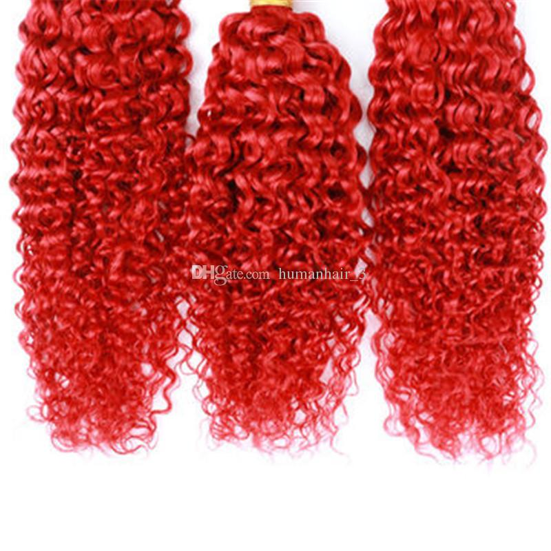 Brazilian Kinky Curly Hair Red 99J Burgundy Wet And Wavy Human Hair Extension Cheap Brazilian Curly Virgin Hair Red 3 Bundles