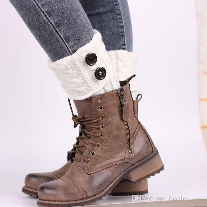 Scaldamuscoli Crochet Button Boot Polsini Donna Calze a maglia Invernali Toppers Polsini Balletto Natale Calzini Boot Covers Regali di Natale L3