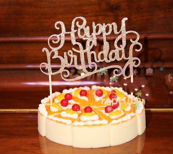 2019 Wholesale Glitter Gold Silver Happy Birthday Cake Toppers Happy
