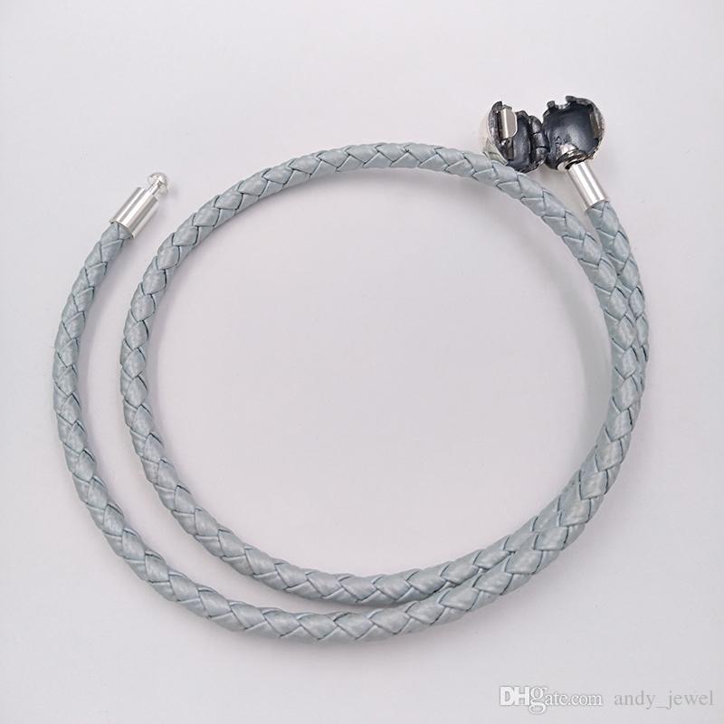Autentico 925 argento azzurro in pelle blu adatti gioielli in stile Pandora europeo charms perline regalo fatto a mano 590734cbl-D