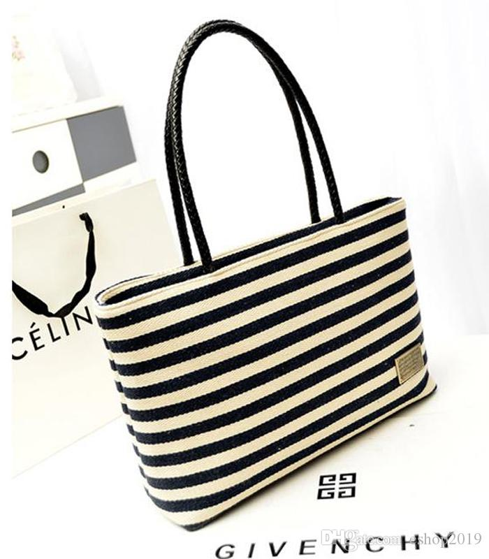 4503568bd842 Hot Sale Casual Women S Handbags Large Capacity Shoulder Tote Bags Striped  Canvas Bags For Lady Fashion Handbags Large Handbags From Eshop2019
