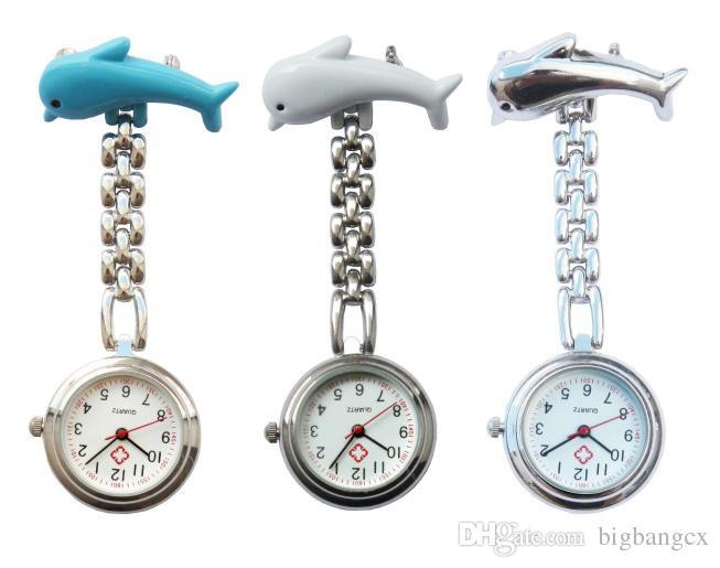 Nueva enfermera Temporizador de Dolphin Watch Doctor Médico Relojes Moda Reloj de bolsillo Médicos Metal Enfermeras de Metal Diseño Animal Diseño Tiempo