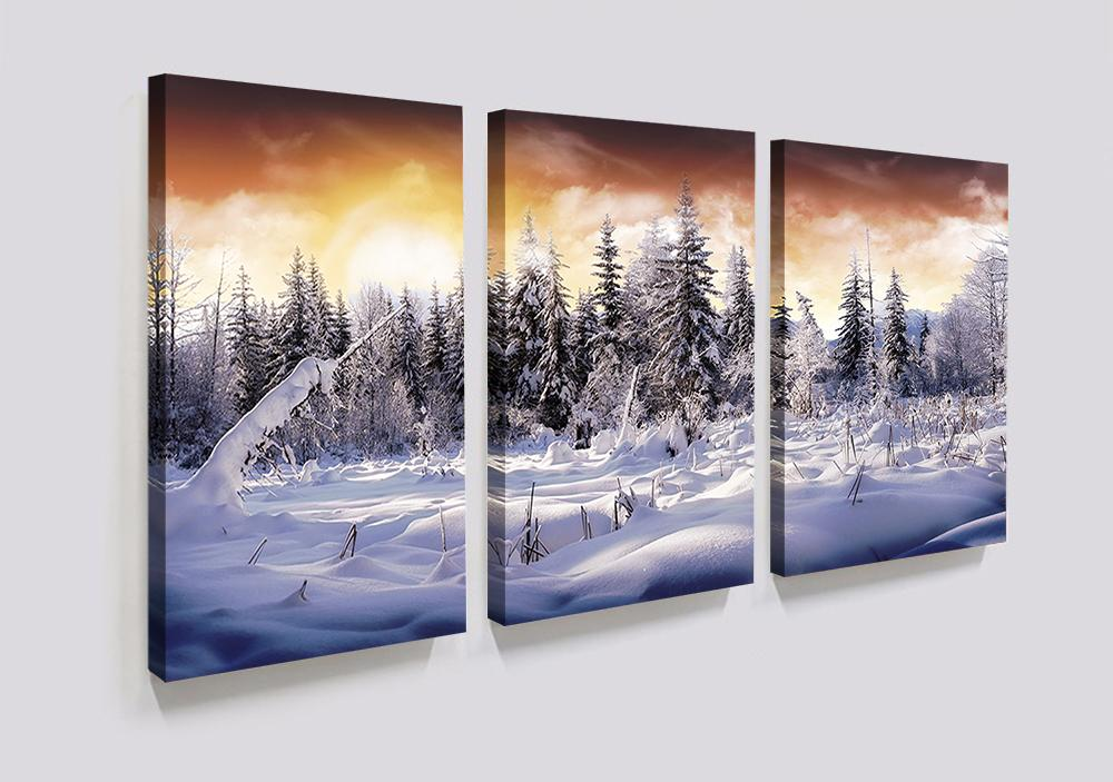 2018 3 Panels Forest Winter White Snow Landscape Canvas Painting ...