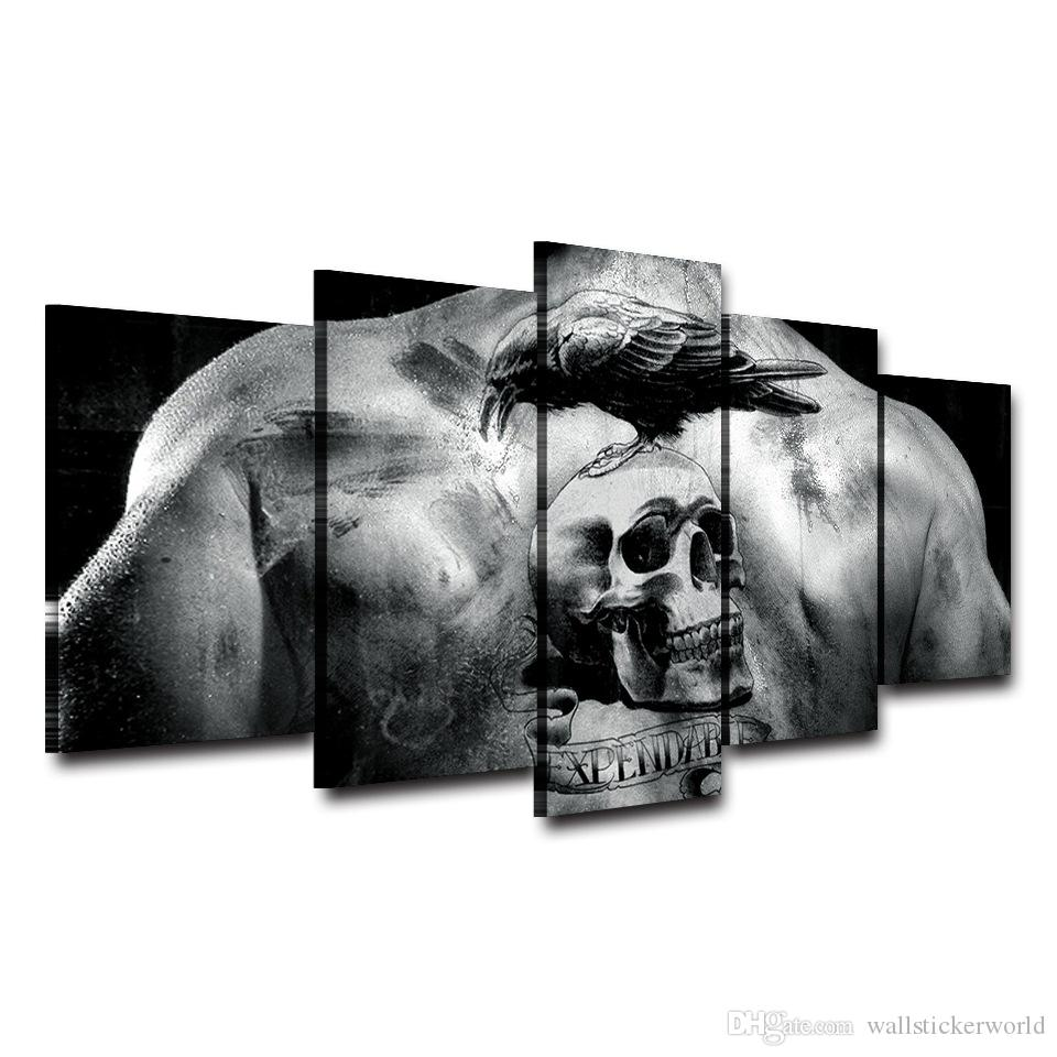 Skull Tattoo Printed Home Decor Framed wall art picture Artistic Printed Drawing on Canvas Spray Oil Painting Decoration