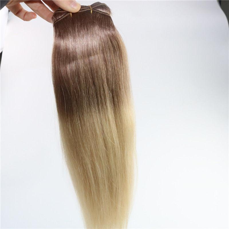 Ombre Inder-Remy-Klipp in den Menschenhaar-Erweiterungen T6 / 613 Brown-Blondine-zwei Ton-Klipp-Jungfrau in den Haar-Erweiterungen 100g