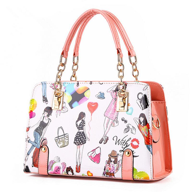 a934f2c07e98 Wholesale Women Handbags 2016 New Fashion Summer Chain Ladies Hand Bags  Cartoon Girl Printed Female Crossbody Bags Casual Tote Sac A Main Handbag  Wholesale ...