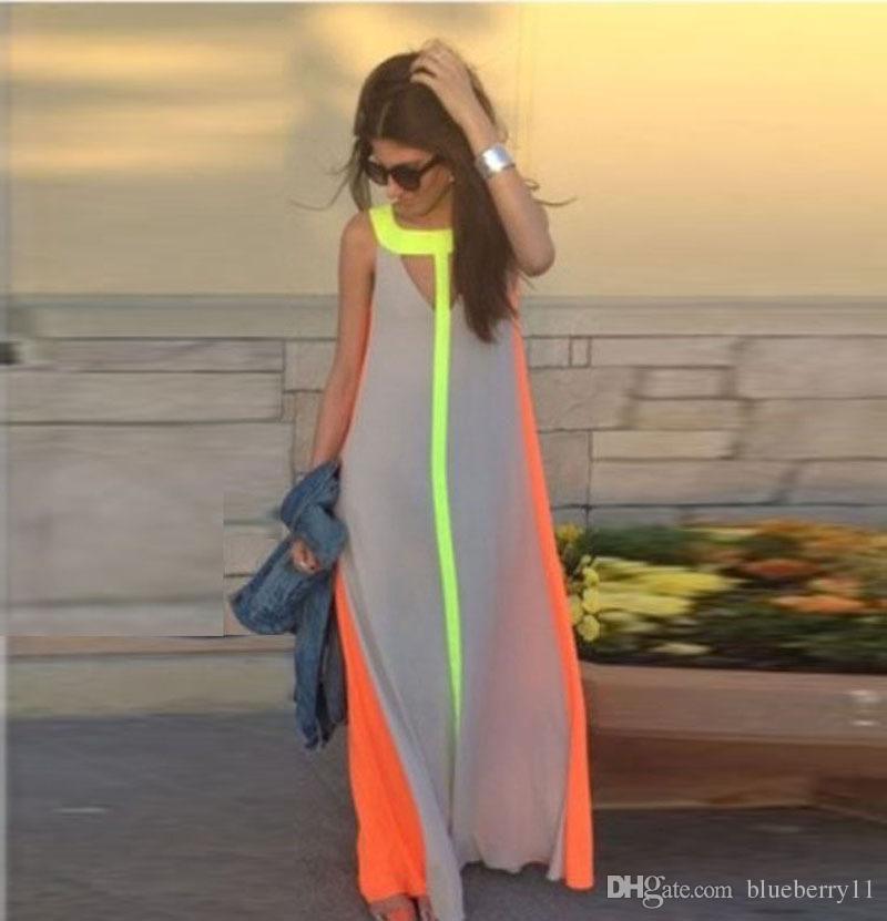 فاهيون الشيفون اللون الساطع المرقعة عارضة فساتين بدون أكمام فستان الشمس فضفاض طويل اللباس النساء رخيصة الصيف بوهو فساتين ماكسي