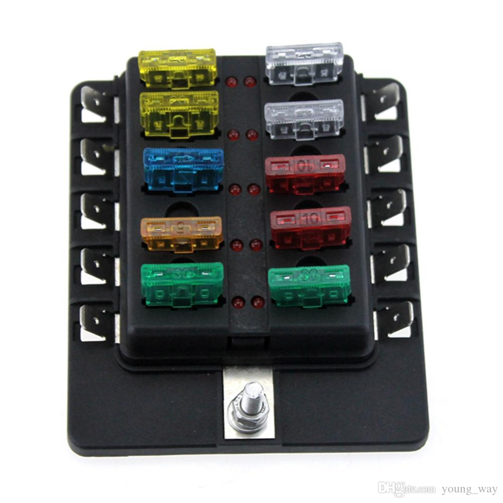 10 way boat car blade fuse box holder truck rv vehicle fuse block rh dhgate com cars fuse box vehicle fuse box problems