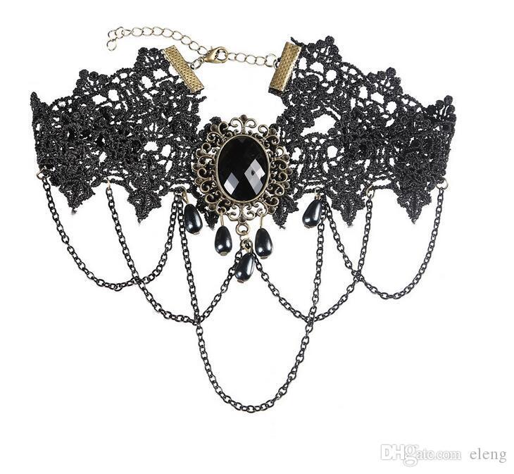 2018 Fashion Vintage Black Bud silk Necklace Women Pendant necklace Pendants choker Burlesque Cosplay Jewelly 346