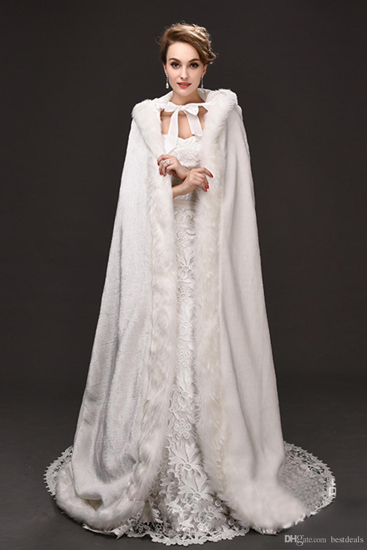 Grosshandel Winter War Faux Fur Braut Mantel Warme Wraps Mit Kapuze