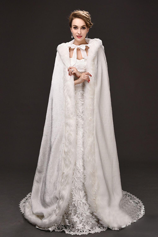 2018 Winter War Faux Fur Bridal Cloak Warm Wraps Hooded