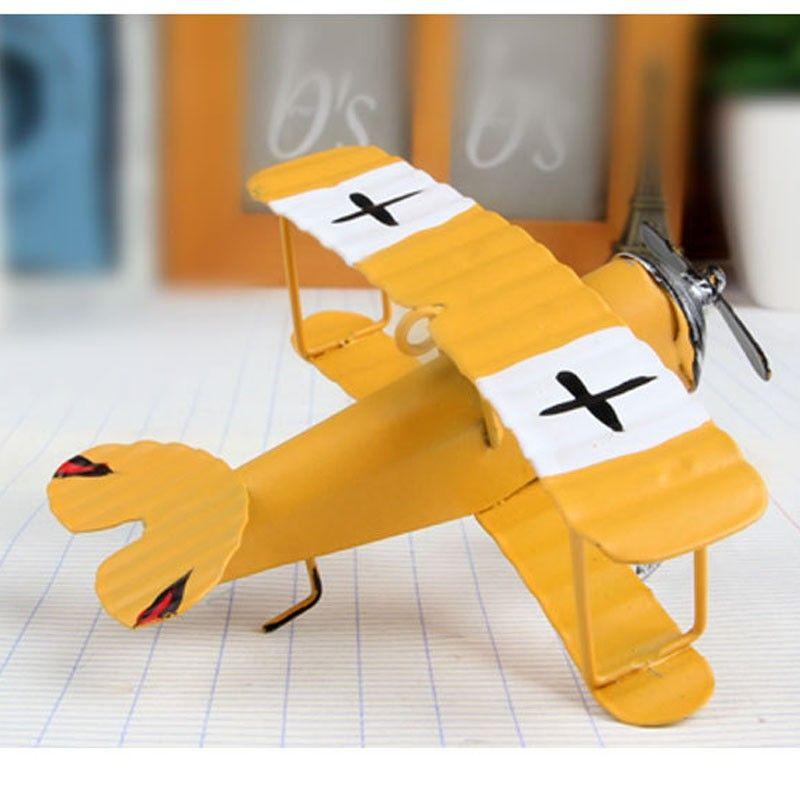 Vintage Metal Plane Model Iron Retro Aircraft Glider Biplane Aeromodelo Pendant Airplane Model Toy Home Christmas Decoration